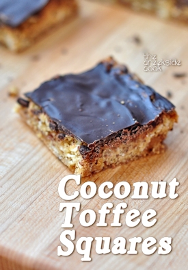 Delicious Coconut Toffee Squares on The Creekside Cook