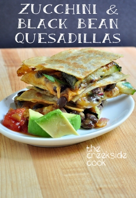 Zucchini & Black Bean Bean Quesadillas on The Creekside Cook