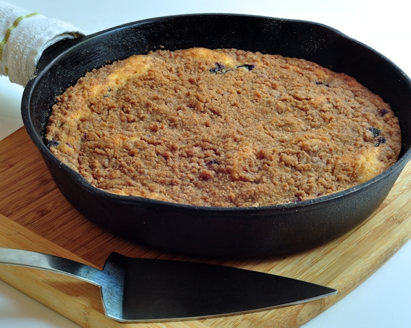 Pan of Blueberry Skillet Cake on The Creekside Cook