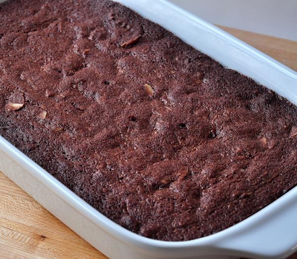 Pan of Almond Brownies on The Creekside Cook