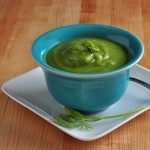 A Bowl of Creamy Vegan Zucchini Dill Soup on The Creekside Cook