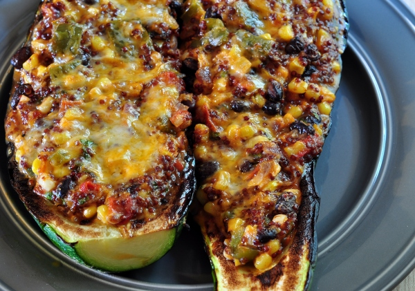 Quinoa & Black Bean Stuffed Zucchini on The Creekside Cook