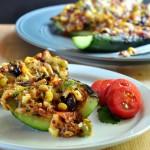 Recipe for Quinoa & Black Bean Stuffed Zucchini on The Creekside Cook