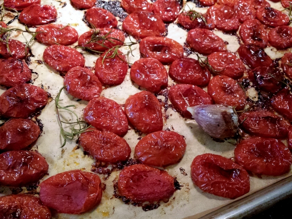 Roasting tomatoes for Goat Cheese Spread with Roasted Tomatoes and Garlic on The Creekside Cook