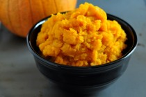 Cooked Pumpkin, ready for some yummy pie, cake, or muffins, on The Creekside Cook