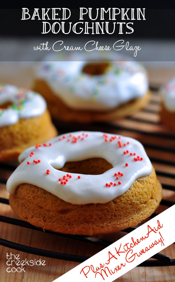 Baked Pumpkin Doughnuts with Cream Cheese Glaze Plus a KitchenAid ...