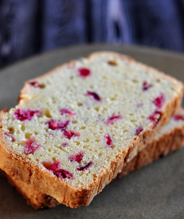 Slices of Cranberry Eggnog Bread on The Creekside Cook