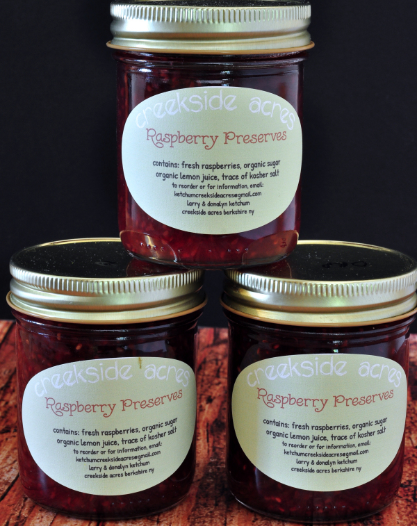 Jars of Homemade Raspberries Preserves [no pectin recipe] from The Creekside Cook