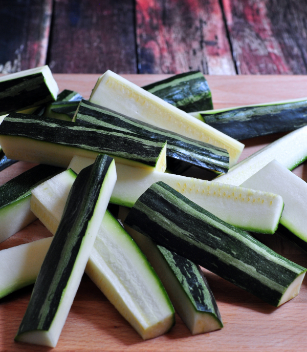 Raw Zucchini for Spicy Zucchini Fries on The Creekside Cook