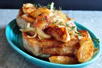 Find the recipe for Pork Loin Chops with Apples and Onions on The Creekside Cook