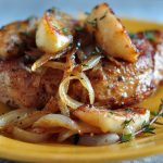Recipe for Pork Loin Chops with Apples and Onions on The Creekside Cook