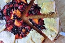 serving a summer fruit galette