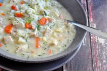 Creamy Chicken & Rice Soup with Dill on The Creekside Cook